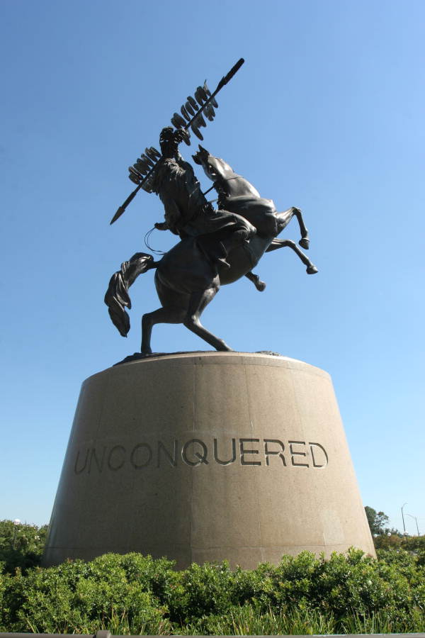 "Audio Library Florida Memory - View Of The Bronze Sculpture ""unconquered"