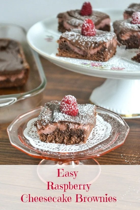 Raspberry Cheesecake Brownies - Flour On My Face - easy bake sale goodies