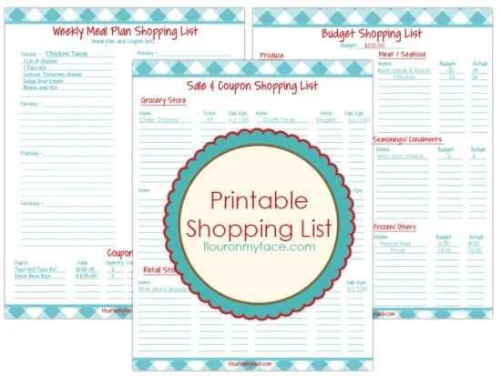 3 Free Printables Weekly Meal Planning-Flour On My Face - printable shopping list