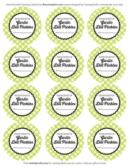 FREE Printable Refrigerator Garlic Dill Pickles Canning Labels