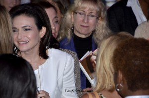 Lean In author Sheryl Sandberg listens to blogger feedback after her BlogHer13 talk.