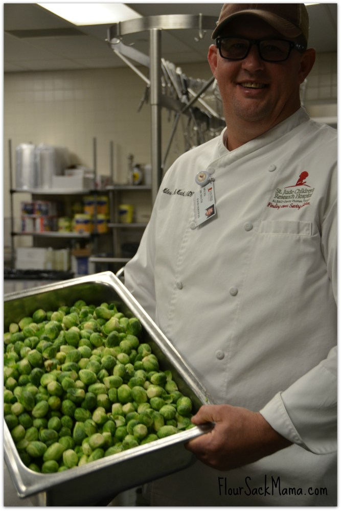 Chef Miles McMath at St. Jude with brussel sprouts from Mississippi