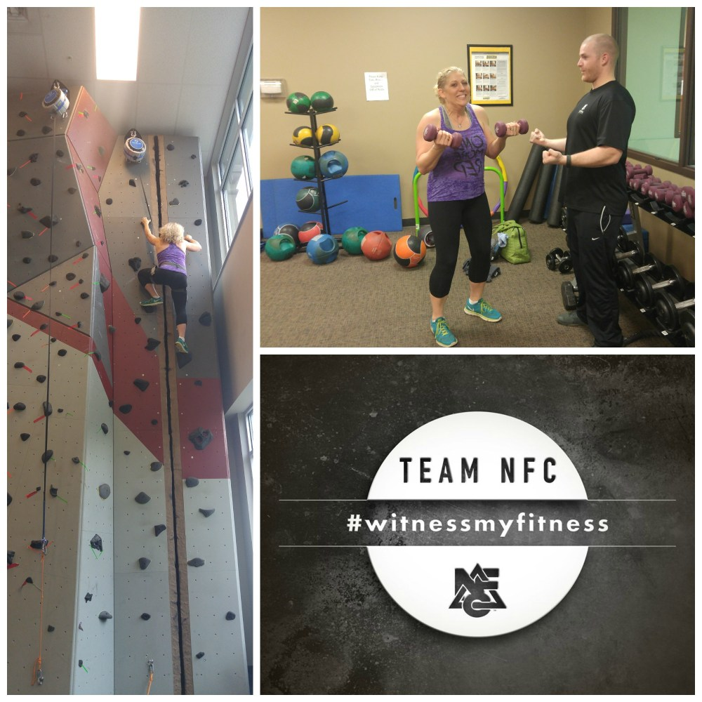rock wall climbing & weights at National Fitness Center