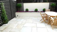 Sandstone paving patio raised beds classic modern planting ...