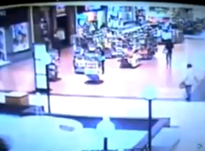 Girl falls in mall fountain