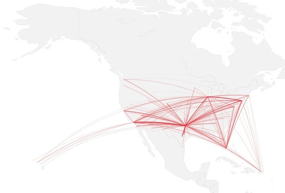 Mapping connections with great circles