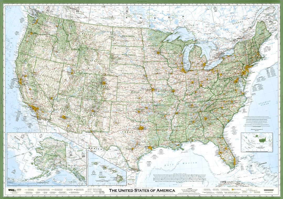 Hand-crafted wall map of the United States