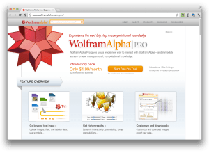 WolframAlpha homepage
