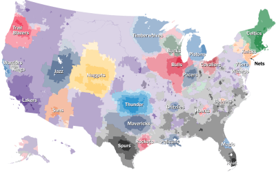 NBA fan map from NYT