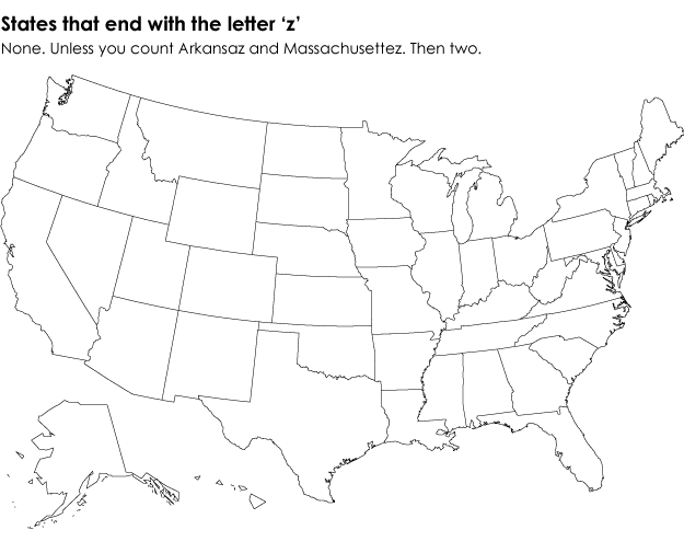 States that end in the last letter of the alphabet