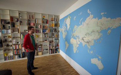 World map on a wall