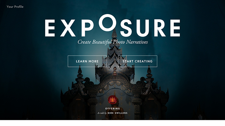 Exposure - a photography web service - an example of flat ui design