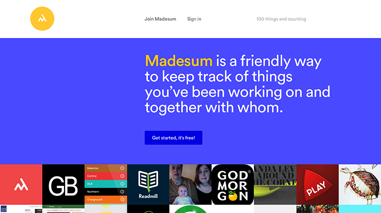 Madesum is a friendly way to keep track of things you've been working on and together with whom.