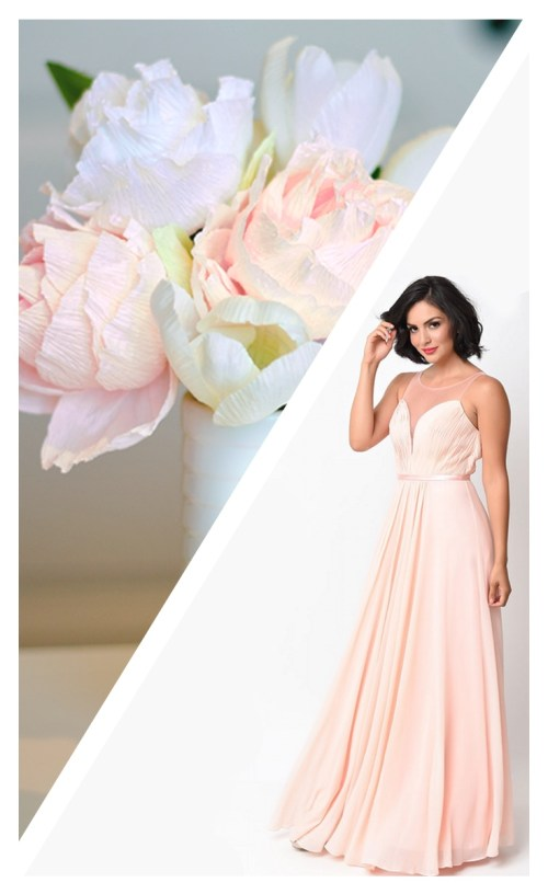Peach Paper Bouquet and Dress Paper Craft for Formal Occasions