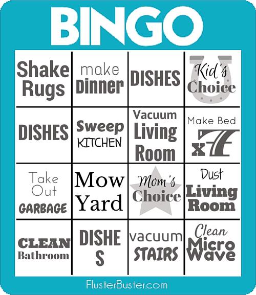 Snap the Jobs a Game - Chores Bingo Fluster Buster