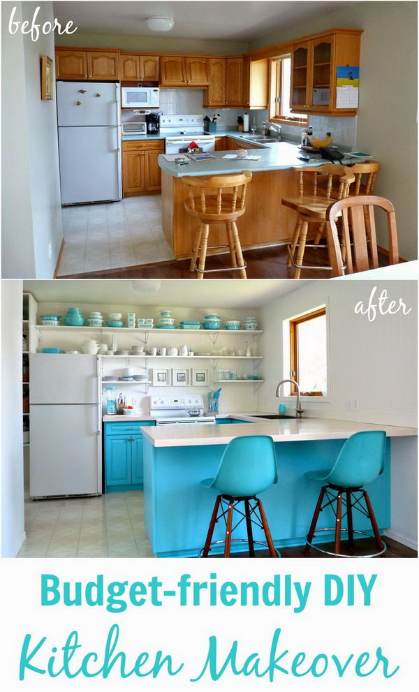How To Change Kitchen Cabinet Color Before And After: 25+ Budget Friendly Kitchen Makeover Ideas