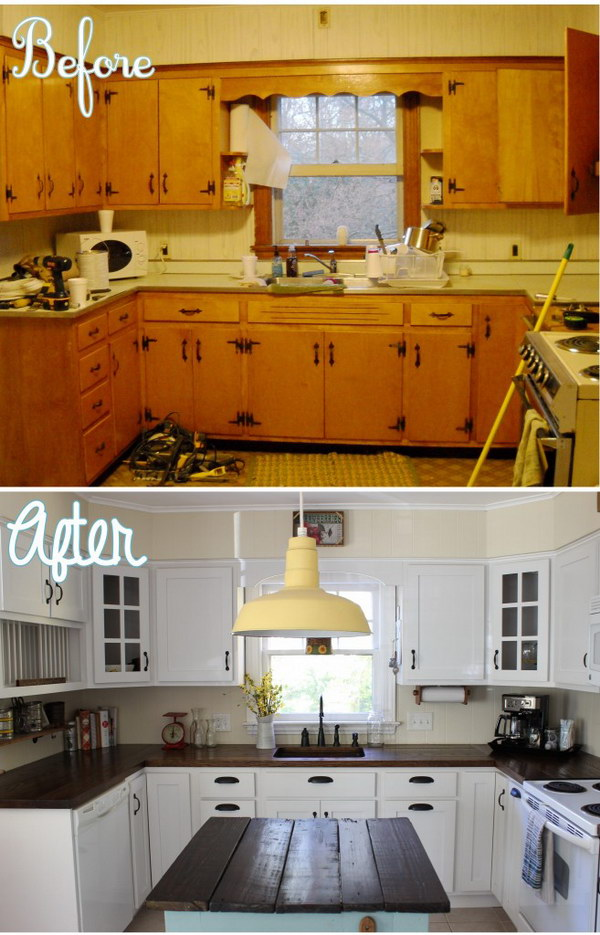 Rustic Kitchen Island Light Fixtures Pretty Before And After Kitchen Makeovers