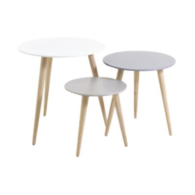 Table Bois Metal Fly Set De 3 Tables Gigogne Fly