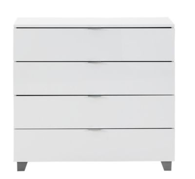 Commode Blanche Fly Commode 4 Tiroirs Blanc Brillant Fly