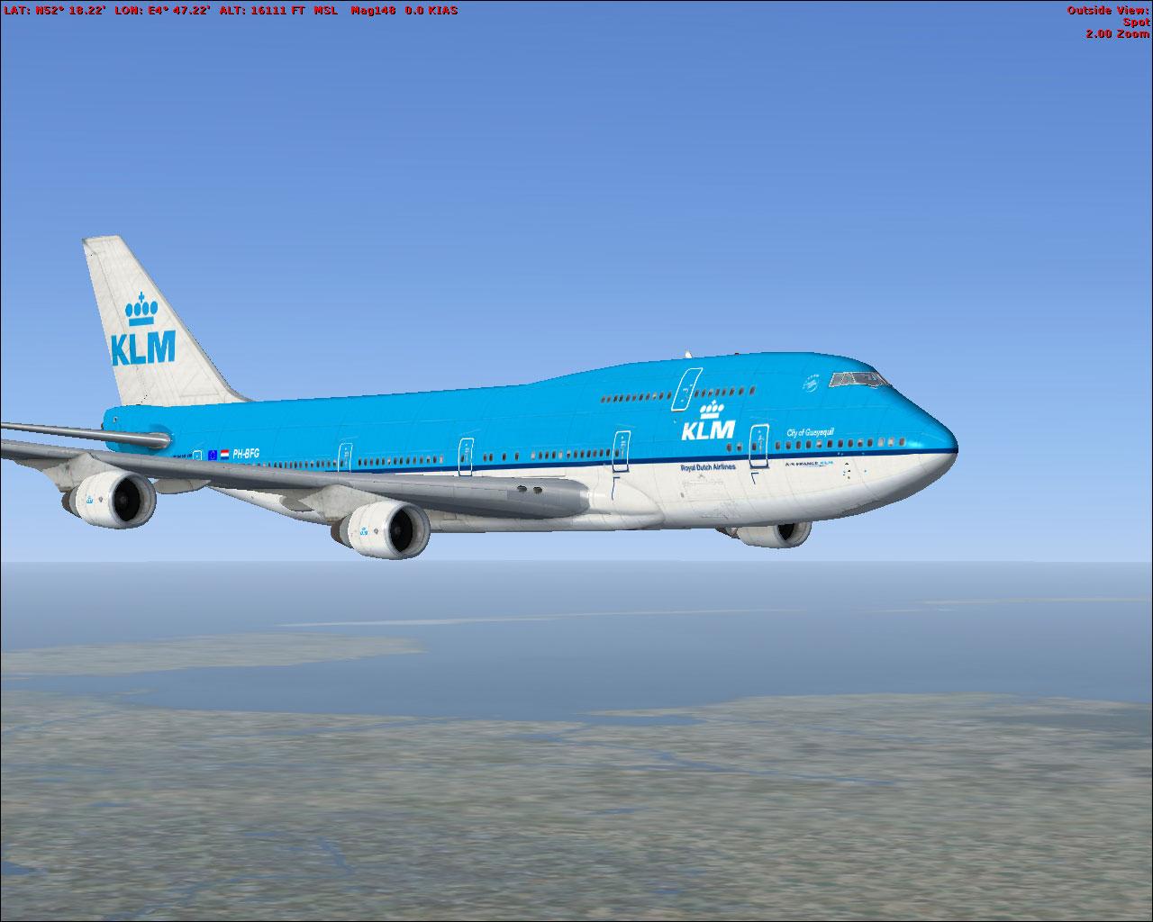 Fsx Wallpaper Hd Klm Boeing 747 400 Repaint For Fsx