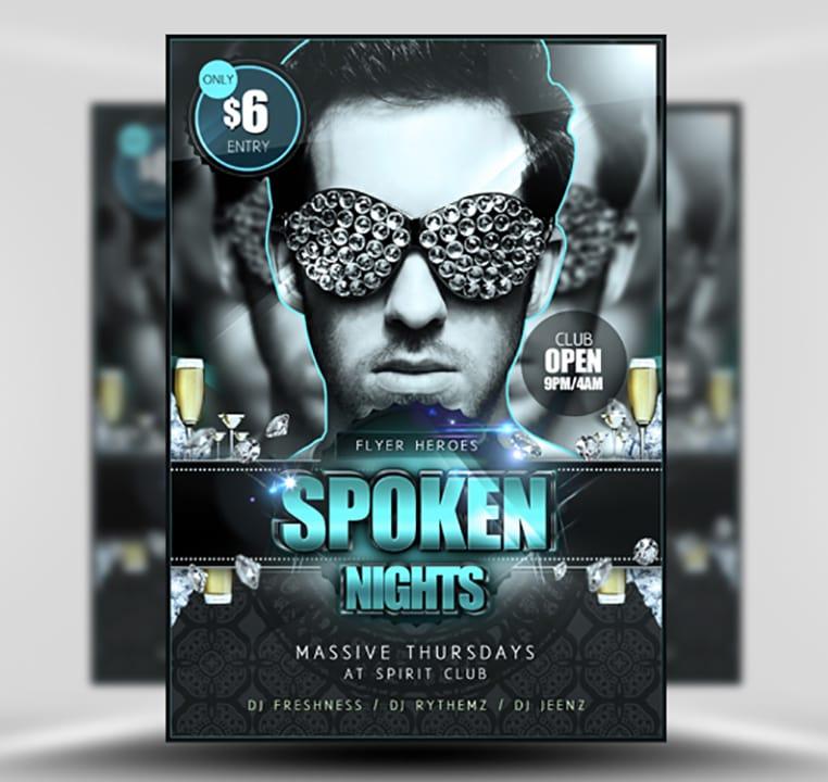 Spoken Nights Free PSD Flyer Template - FlyerHeroes