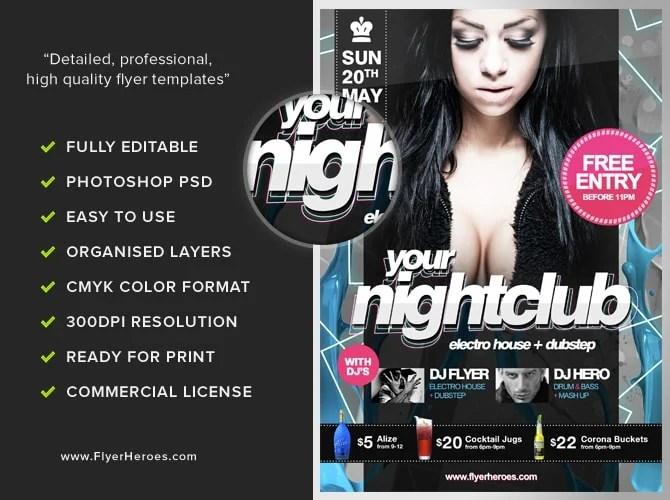 Free Nightclub Flyer Template - FlyerHeroes