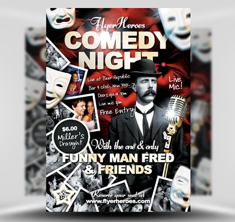 Free Comedy Flyer Template - FlyerHeroes
