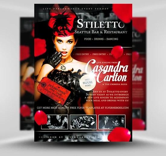 Stiletto Free Restaurant / Singer Flyer Template - FlyerHeroes