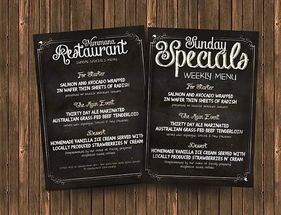 chalkboard menu template free