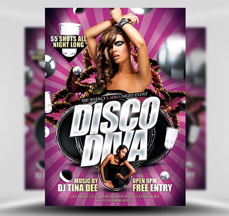 Disco Diva Free Flyer Template - FlyerHeroes