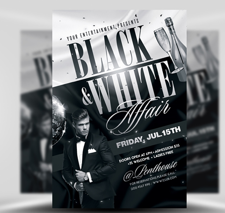 Black and White Flyer Template - FlyerHeroes