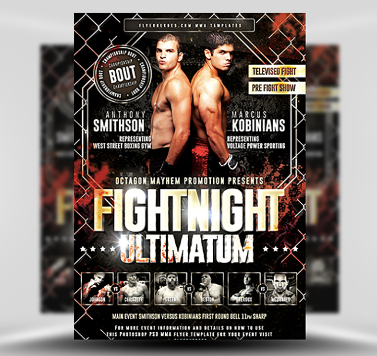 Fightnight Ultimatum MMA Flyer Template - FlyerHeroes
