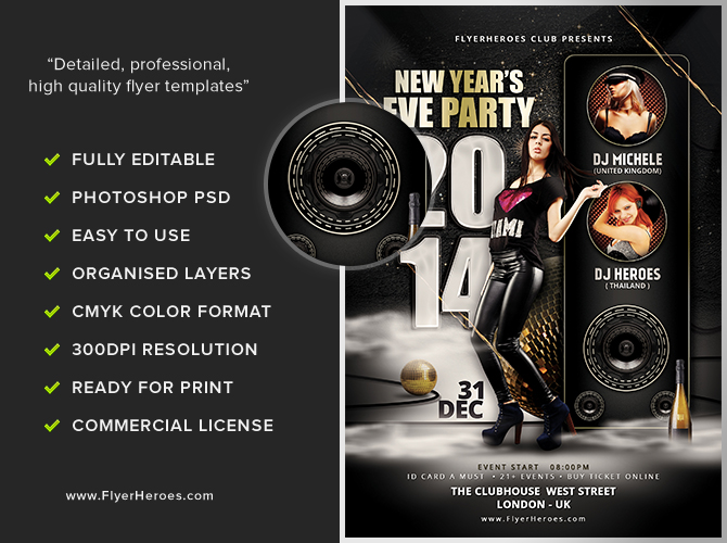 New Year\u0027s Eve Party Flyer Template - FlyerHeroes