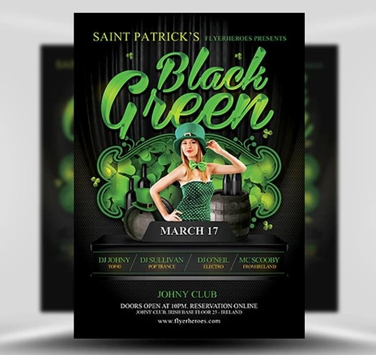 St Patrick\u0027s Day Black  Green Party Flyer - FlyerHeroes