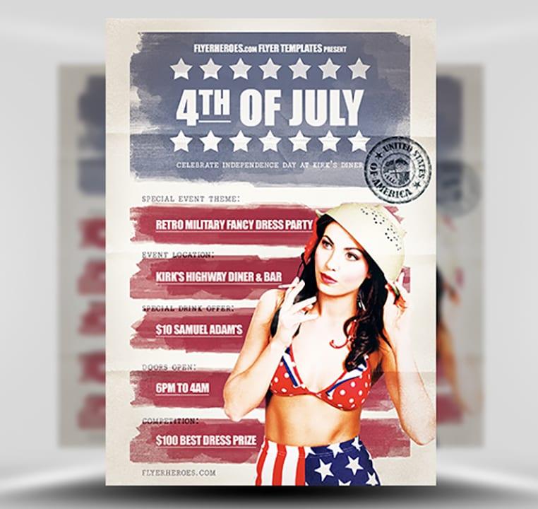 Vintage 4th July Flyer Template - FlyerHeroes