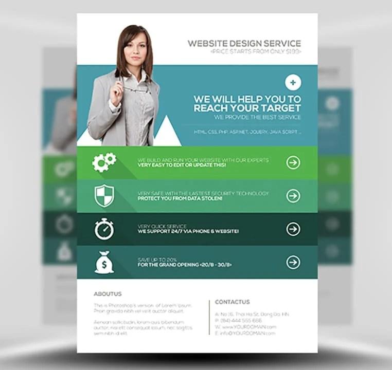 Flat Style Web Agency Flyer Template - FlyerHeroes