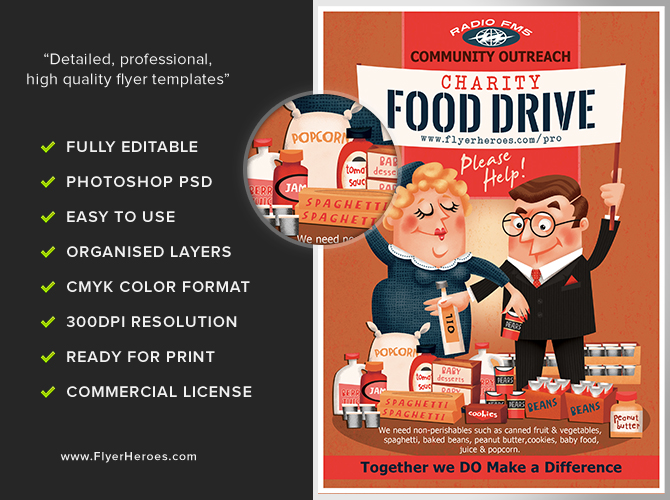 Charity Food Drive Flyer Template - FlyerHeroes