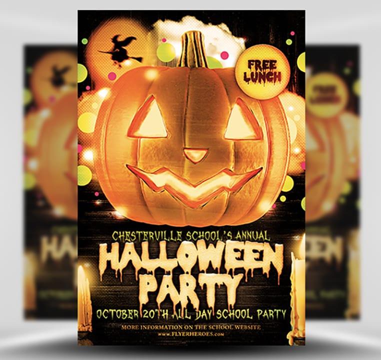Halloween Party Flyer Template 415 - The Pumpkin - FlyerHeroes