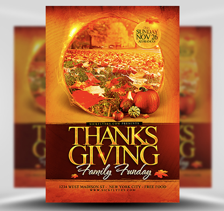 Thanksgiving Funday Flyer Template - FlyerHeroes