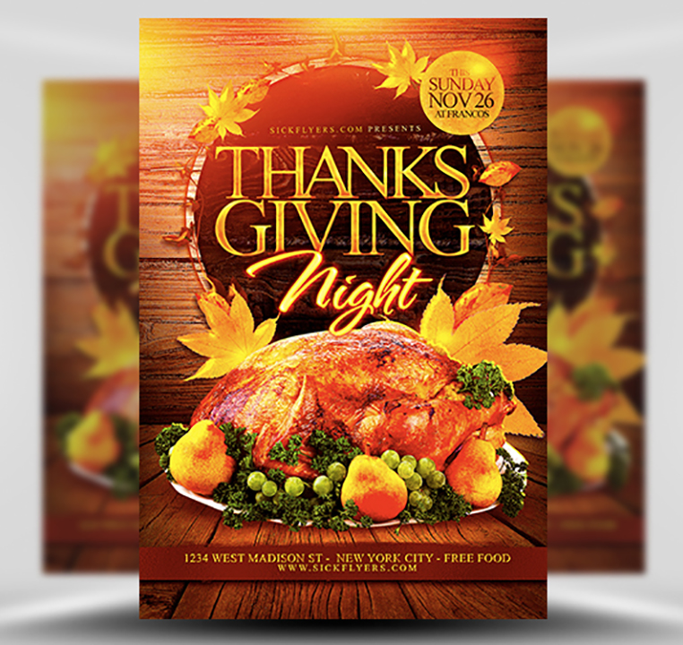 Thanksgiving Night Flyer Template - FlyerHeroes