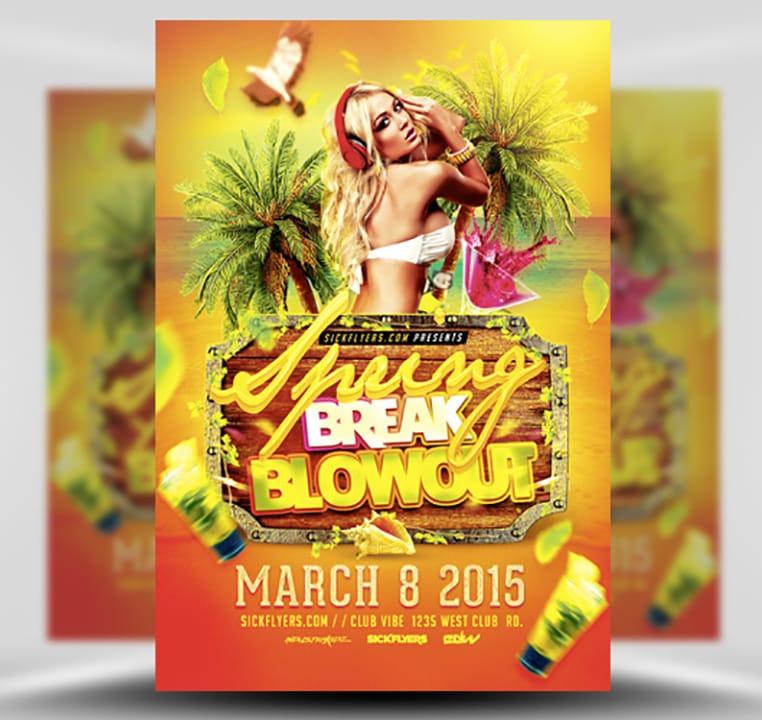 Spring Break Blowout Flyer Template - FlyerHeroes