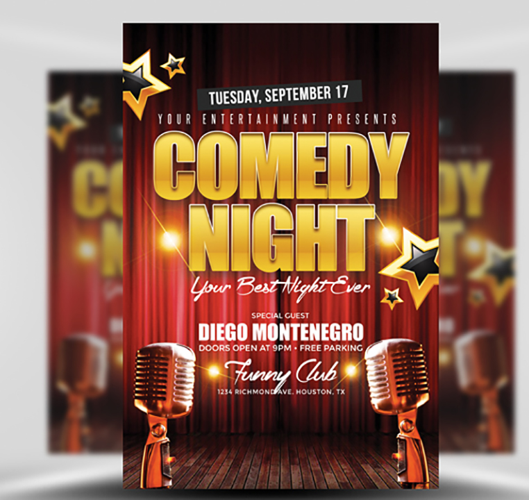 Comedy Night Flyer Template - FlyerHeroes