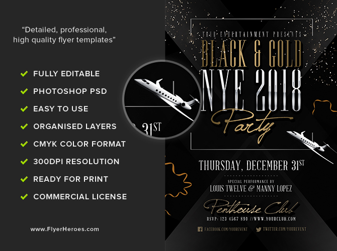 Black  Gold NYE Flyer Template - FlyerHeroes