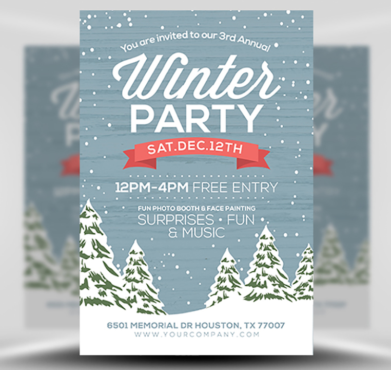 Rustic Winter Flyer Template - FlyerHeroes