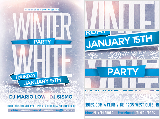 Winter White Party Flyer Template - FlyerHeroes