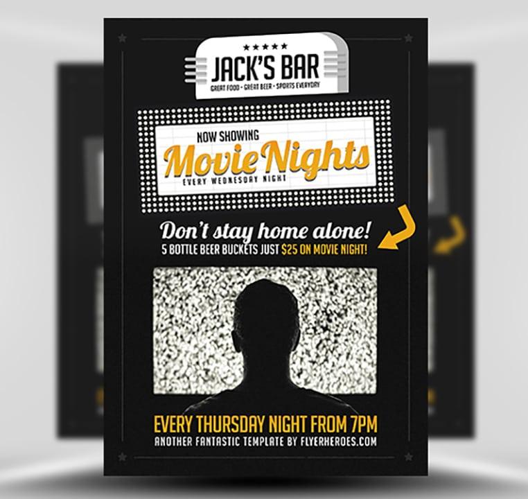 Movie Nights Flyer Template v2 - FlyerHeroes