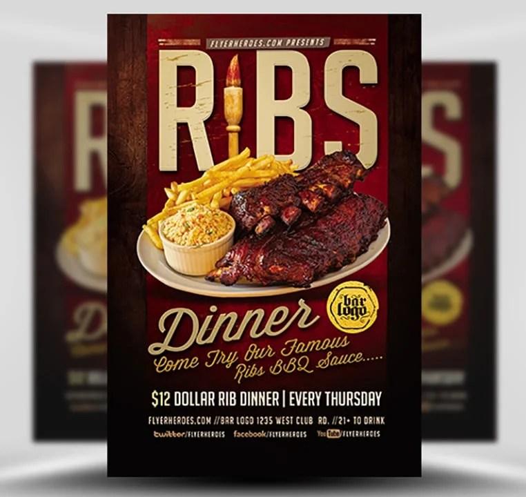 Ribs Dinner Flyer Template - FlyerHeroes