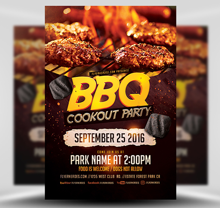 BBQ Cookout Party Flyer Template