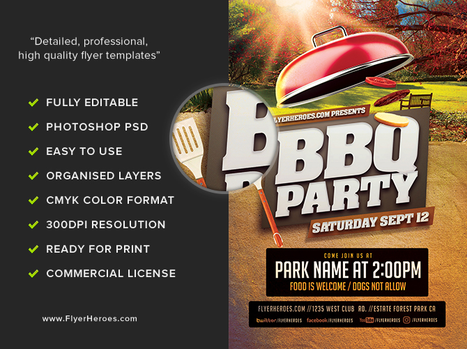 BBQ Party in the Park Flyer Template