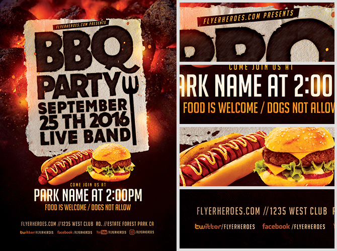 Sizzling BBQ Party Flyer Template